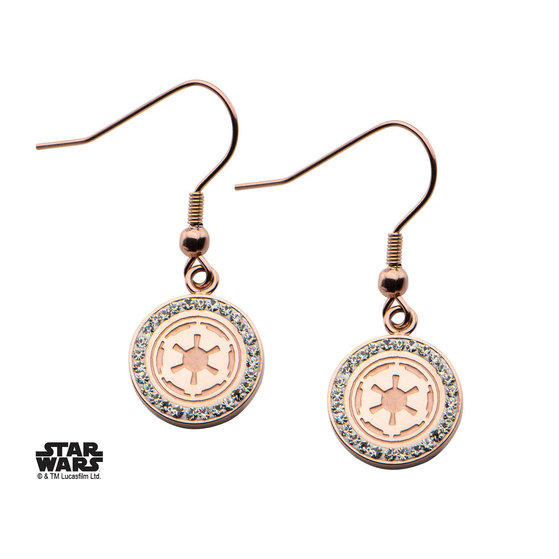 Star Wars Earrings Galactic Empire Symbol Cubic Zirconia rose