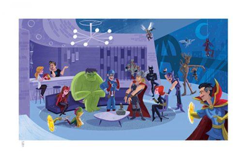 Marvel Art Print Party at Avengers Tower 43 x 66 cm – unframed
